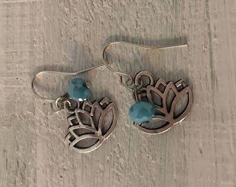 Lotus Turquoise Silver Yoga Earrings