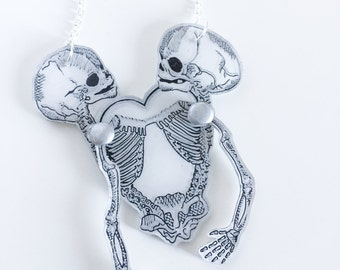 Zwillinge Necklace, Wunderkammer Illustrated Anatomical Shrink Plastic Jewellery
