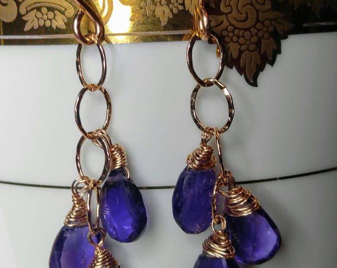 Amethyst chandelier earrings,  rose gold dangle earrings. Amethyst dangle and drop earrings