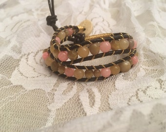 Glass beaded wrap bracelet with gold threading