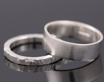 Set of two silver rings, Simple stacking rings set, hammered sterling silver band set, Silver Stacking rings, Sterling Silver Ring Set, band