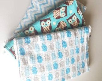 Baby boy burp set - blue elephant - baby shower gift - flannel set - blue owls