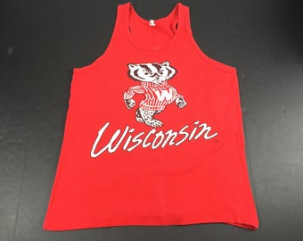 Vintage 80s Wisconsin Badgers tank top t-shirt mens M NCAA Football
