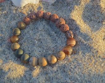 Mens Lava bead crystal healing bracelet