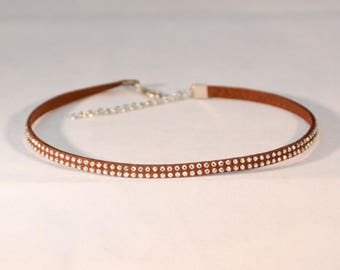 Choker Necklace Brown with Double Studs