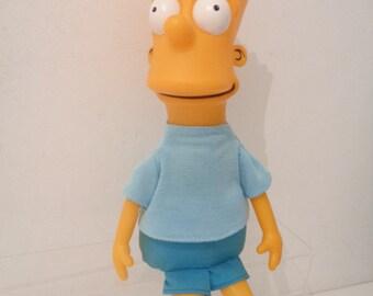 "Rare 1990 Vintage 11"" Bart Simpson Figure with Blue Jumper"