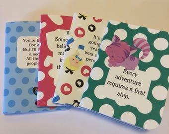 Alice in Wonderland Handmade Travelers Notebook Inserts, TN Inserts, Fauxdori Inserts, Handmade Inserts, Alice In Wonderland, Notebook