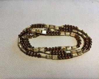 Cream & Copper 3 Wrap Bracelet