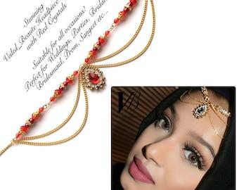 Headpiece Jewelry Tikka Small Tikka Headpiece tikka Indian Gold Tikka Bollywood Indian Kundan Bridal Headpiece matha patti Red
