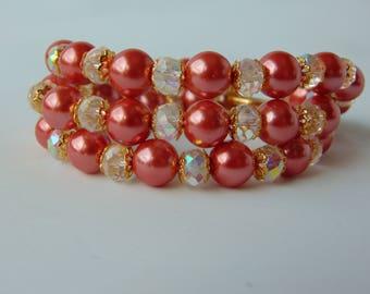 peach bracelect, charm bracelet