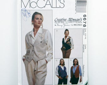 Vintage McCall's Pattern 6678, Reversible Vest, Pin and Cinch, Size 12, 14, Creative Woman's Sewing Patterns, Uncut