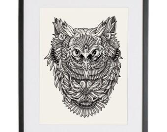 Owl   Owl art   Owl Illustration   Owl Tatoo   Illustration Print