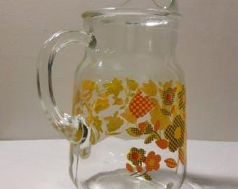 Vintage Flower Glass Pitcher