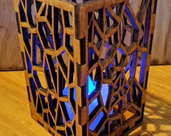 "Laser Cut ""Geometrics Polygon"" Wooden Candle Holder"