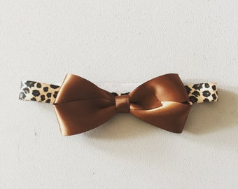 Brown satin bow with leopard print band 0-3 month