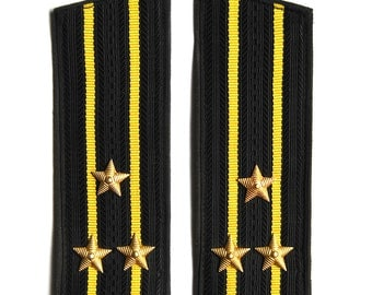 Vintage Captain of the Navy uniform boards used in Soviet Union, rank of Captain of the Navy USSR