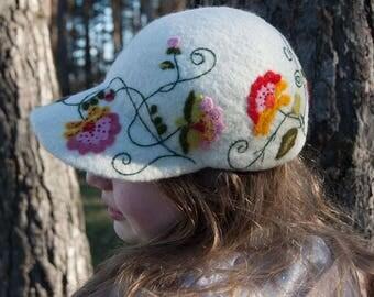 White Handmade natural felt baseball cup, wool hat for women, girl