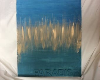 Paradise abstract in blues, greens and gold