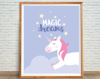 Unicorn Printable, Unicorn Digital Print, Unicorn Nursery Decor, Unicorn Wall Art, Unicorn Nursery Print, Unicorn Magic Dreams, Unicorn Art
