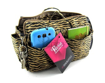 Periea Gold/Purple Zebra Print Handbag Organiser - Medium Size   HARRIET