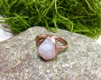 Moonstone Ring, White Moonstone Ring, Copper Jewelry, Copper Ring, Natural Stone Ring, Moonstone Birthstone, Gift for Her, Gift idea, Ring