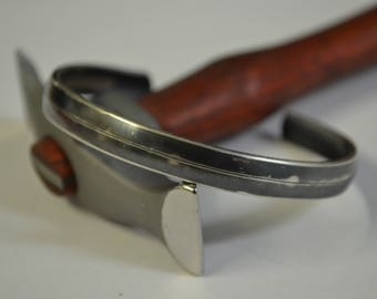 Oxidised Sterling Silver Mens Cuff Bangle