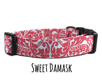 Dog Collar, Damask Dog Collar, Girl Dog Collar, Pink, Sweet Damask