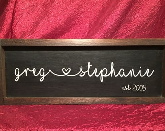 Couple's Established Wood Sign