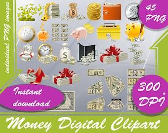 Money Clipart - Digital 300 DPI PNG Images,money clipart,money,clipart,clipart money,clip art,coin clipart,money bag clipart,money png,png,