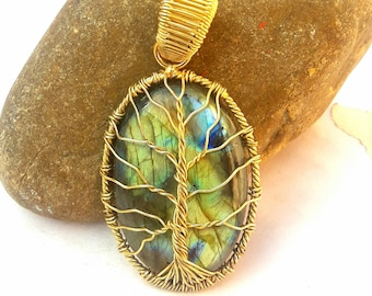 Tree-of-life pendant Brass gemstone pendant Labradorite Pendant Mother day gift-for-mom birthday gift-for-husband gift-for wife