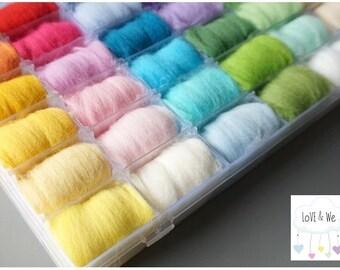 Needle Felting Starter Kit, 36 beautiful color Felting Merino Wool Bundle with storage case, square foam pad and 3 felting needles Bundle.
