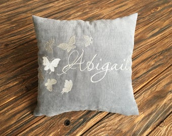 Butterflies Personalized Pillow Covers For Kids Custom Pillowcase Personalized Name Monogram Pillow Cover Boy Name Nursery Home Decor vm4