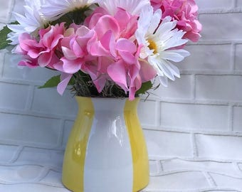 Pink Silks in a Yellow Striped Vase