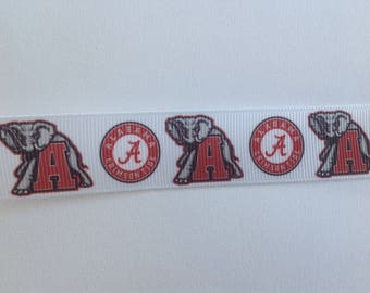 "7/8""  Alabama  inspired Grosgrain Ribbon  -  By The Yard"