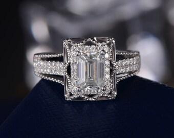 Art Deco Antique Engagement Ring Forever One Moissanite White Gold Retro Unique Bridal Set Emerald Cut Split Shank Promise Anniversary Ring