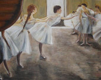 Painting acrylic hand painted after EDGAR DEGAS Ballet sample art
