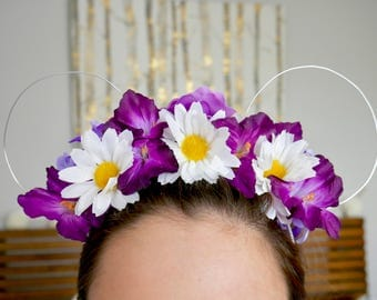 Purple Daisy Floral Minnie Ears | Mickey Ears |