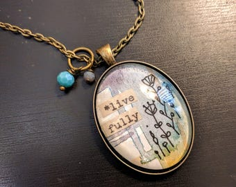 """Watercolor pendant """"Live fully"""""""