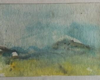 ACEO landscape original gouache painting