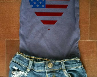 Fourth of july theme/girl/baby girl/toddler girl/distressed denim/ripped shorts distressed shorts/American flag/heart/usa/independence day