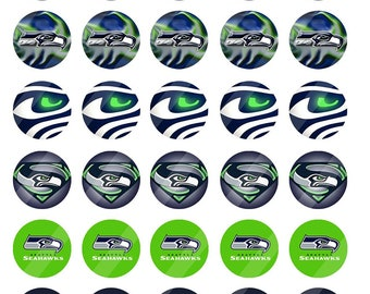 Seattle Seahawks  16 mm round sheet size 4x6 - Instant Download