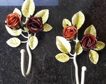 Vintage Italian Roses Toleware Metal Wall Hooks (pair)