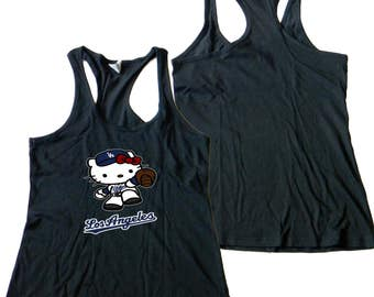 Los Angeles Dodgers Hello Kitty Ladies/Women's Racer Back Tank Tops