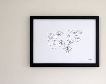 Original - Blind Contour Print - Portrait Composition - Series 6/6 JOY