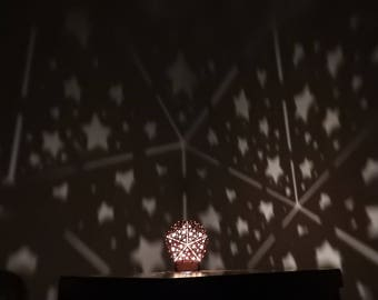 Icosahedral Star Shadow Lamp Night Light Designed and Made in Cambridge with Customisable Message