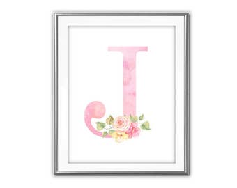 SALE Pink Watercolor-Initial With Flowers- Digital Print- Wall Art- Digital Designs- Home Decor- Gallery Wall- Quote Prints- Custom Initials