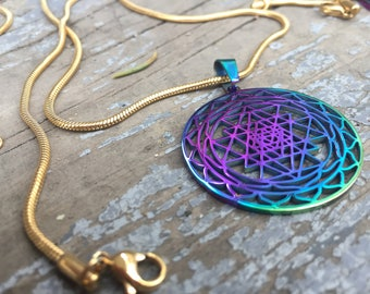 Rainbow Sri Yantra Pendant, Stainless Steel, 18k Gold Plated Chain, Sacred Geometry Pendant, Sri Yantra Necklace
