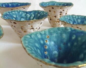 Small handmade turquoise gold ceramic pots
