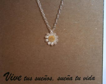 925 sterling silver daisy flower necklace