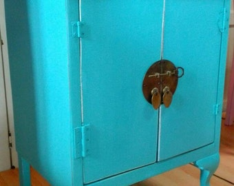 Oriental bedside table Shabby Chic turquoise auxiliary bedside